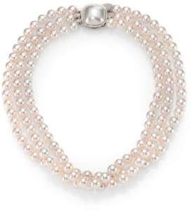 Majorica 8MM White Pearl& Sterling Silver Nested Triple-Strand Necklace