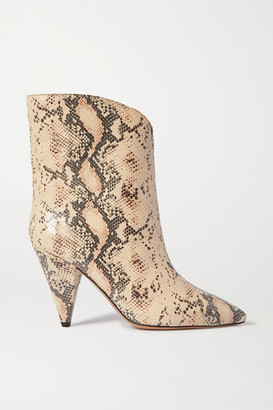 Isabel Marant Leinee Snake-effect Leather Ankle Boots - Snake print