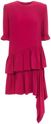 Alexander McQueen Tiered Draped Crepe De Chine Dress