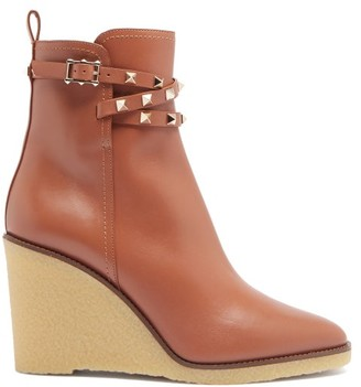 Valentino Rockstud Leather Wedge Ankle Boots - Tan