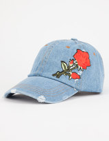 Rose Embroidered Denim Dad Hat