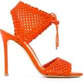 Gianvito Rossi woven tie sandals - women - Leather - 36