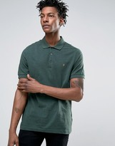 Farah Blaney Pique Polo Slim Fit In Green Marl