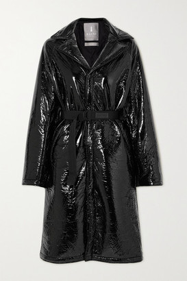Rains Belted Padded Crinkled Glossed-shell Coat - Black