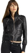 Keagan Leather Bomber Jacket, Black