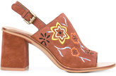 See by Chloe embroidered slingback sandals - women - Leather/rubber - 38