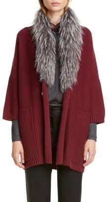 Fabiana Filippi Genuine Fox Fur Collar Wool, Silk & Cashmere Cardigan
