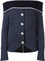 Pierre Balmain off-shoulder striped shirt - women - Cotton/Polyamide/Spandex/Elastane/Viscose - 36