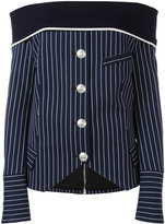 Pierre Balmain off-shoulder striped shirt