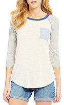 Moa Moa Seersucker Pocket Knit Raglan Tee