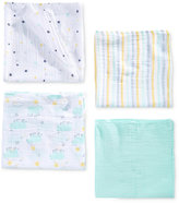 aden by aden + anais 4-Pk. Cotton Skating Hippo Swaddle Blankets, Baby Boys & Girls (0-24 months)