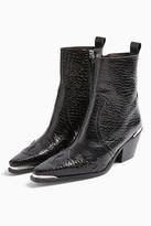 Topshop MALTA Black Western Leather Boots