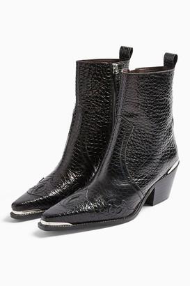 Topshop Womens Malta Black Western Leather Boots - Black