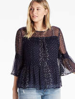 Lucky Brand Shirred Peasant Top