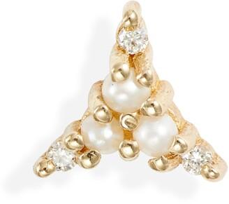 Jennie Kwon Designs Pearl & Diamond Triad Stud Earring