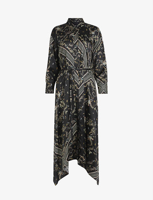 AllSaints Maia Assam-print silk-blend dress
