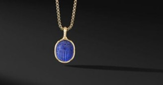 David Yurman Petrvs Scarab Amulet In 18K Yellow Gold With Lapis