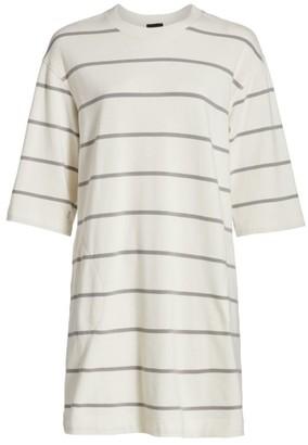 ATM Anthony Thomas Melillo Plaited Jersey Stripe T-Shirt Dress