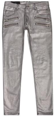 Balmain Metallic Zip Biker Jeans