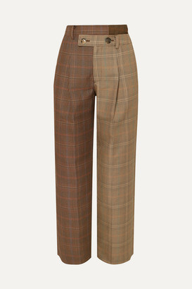 ANDERSSON BELL Fifty Fifty Asymmetric Checked Wool-blend Tweed Straight-leg Pants - Brown