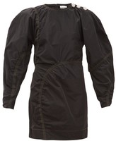 Ganni Balloon-sleeve Crystal-button Taffeta Mini Dress - Womens - Black