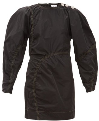 Ganni Balloon-sleeve Crystal-button Taffeta Mini Dress - Black