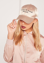 Missguided Nude Graphic Embroidered Satin Cap