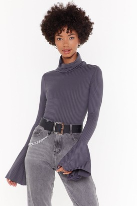 Nasty Gal Womens Flare's Nothin' Holdin Me Back Ribbed Jumper - grey - 4