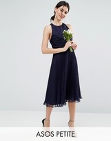 Asos WEDDING Pleated Midi Dress with Ruched Detail