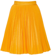 MSGM Yellow Cotton Plissé Skirt