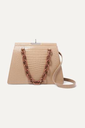 BEIGE Gu De Gu_de - Two-tone Croc-effect Leather Shoulder Bag