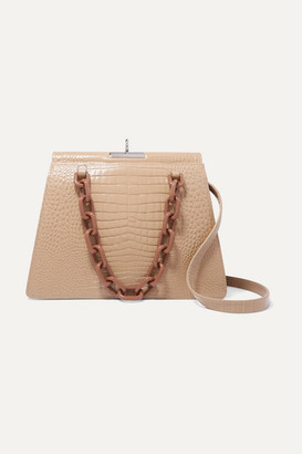 Gu_de Two-tone Croc-effect Leather Shoulder Bag - Beige