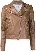 Yves Salomon classic biker jacket - women - Silk/Lamb Skin - 38