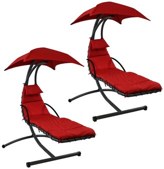 Sunnydaze Hammock Chair Floating Chaise Lounger & Canopy