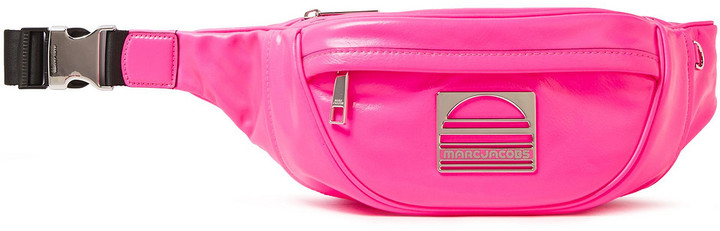 Marc Jacobs Logo-embellished Neon Textured-leather Belt Bag