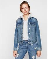 Express rhinestone embellished denim trucker jacket