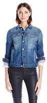 7 For All Mankind Women's Classic Denim Jacket In Aggressive Bright Indigo