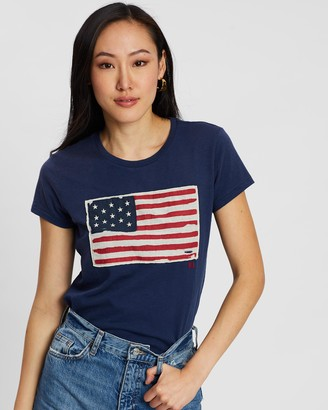Polo Ralph Lauren Women's Blue Printed T-Shirts - Flag Jersey Graphic T-Shirt - Size XS at The Iconic