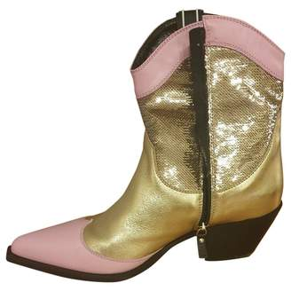 MSGM Gold Leather Ankle boots