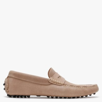 Roman Rock Beige Leather Contrast Stitching Loafers