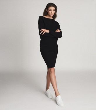 Reiss LARA OFF-THE-SHOULDER KNITTED DRESS Black
