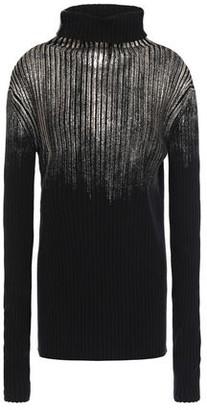 Ann Demeulemeester Metallic Coated Ribbed Wool Turtleneck Sweater