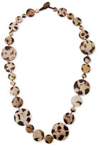 Viktoria Hayman Long Shell Disc Necklace in Leopard, 42""