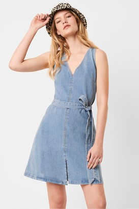 French Connection Pulika Chambray V Neck Belted Short Denim Dress