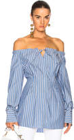 Tibi Striped Off Shoulder Top in Blue