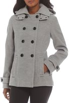 Calvin Klein Faux Wool Hooded Double Breasted Peacoat