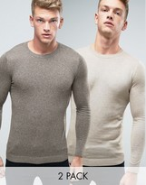 Asos 2 Pack Muscle Fit Sweater In Khaki/Beige SAVE