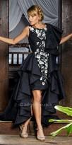 Nika Regal High Low Oversized Draped Ruffle Gown