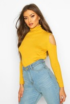 boohoo Cold Shoulder turtle neck Knitted Top