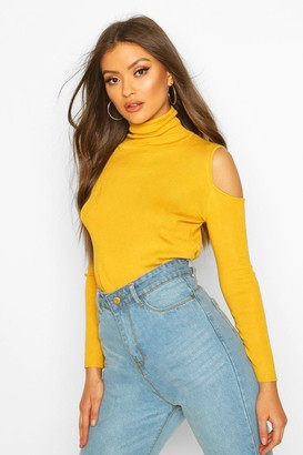 boohoo Cold Shoulder Polo Neck Knitted Top